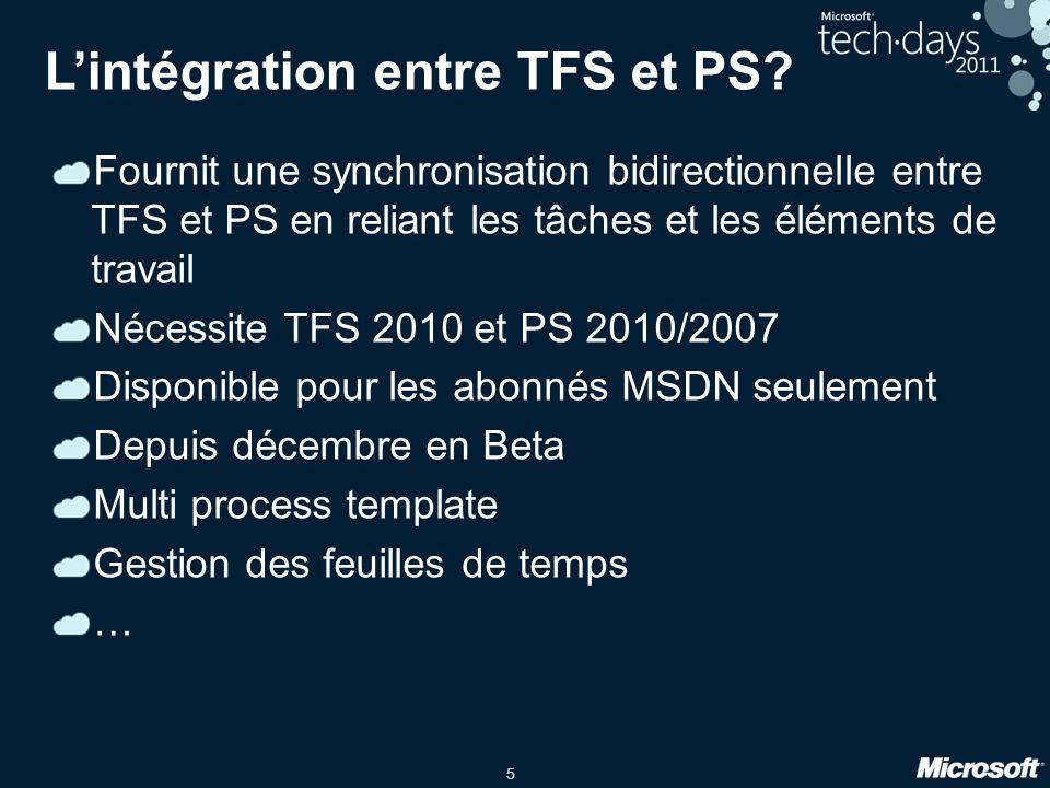 5 Lintégration entre TFS et PS? Fournit une synchronisation bidirectionnelle entre TFS et PS en reliant les tâches et les éléments de travail Nécessit