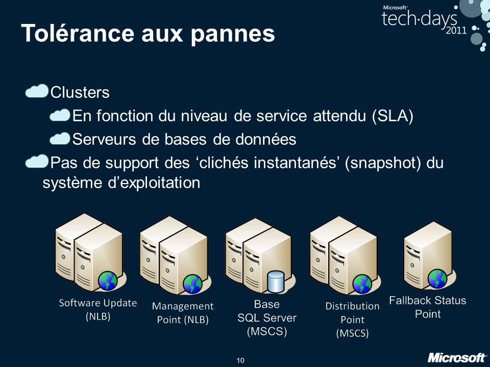 10 Tolérance aux pannes Clusters En fonction du niveau de service attendu (SLA) Serveurs de bases de données Pas de support des clichés instantanés (s