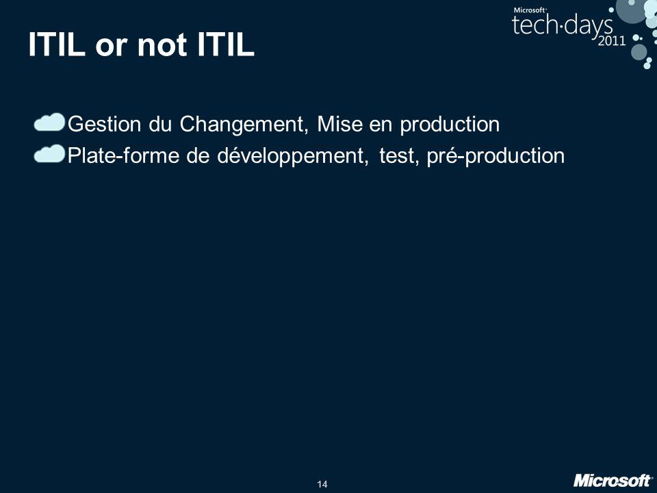 14 ITIL or not ITIL Gestion du Changement, Mise en production Plate-forme de développement, test, pré-production