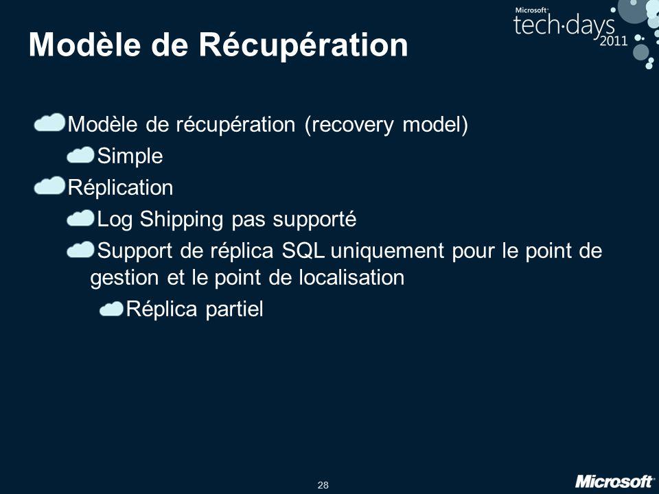 28 Modèle de Récupération Modèle de récupération (recovery model) Simple Réplication Log Shipping pas supporté Support de réplica SQL uniquement pour le point de gestion et le point de localisation Réplica partiel