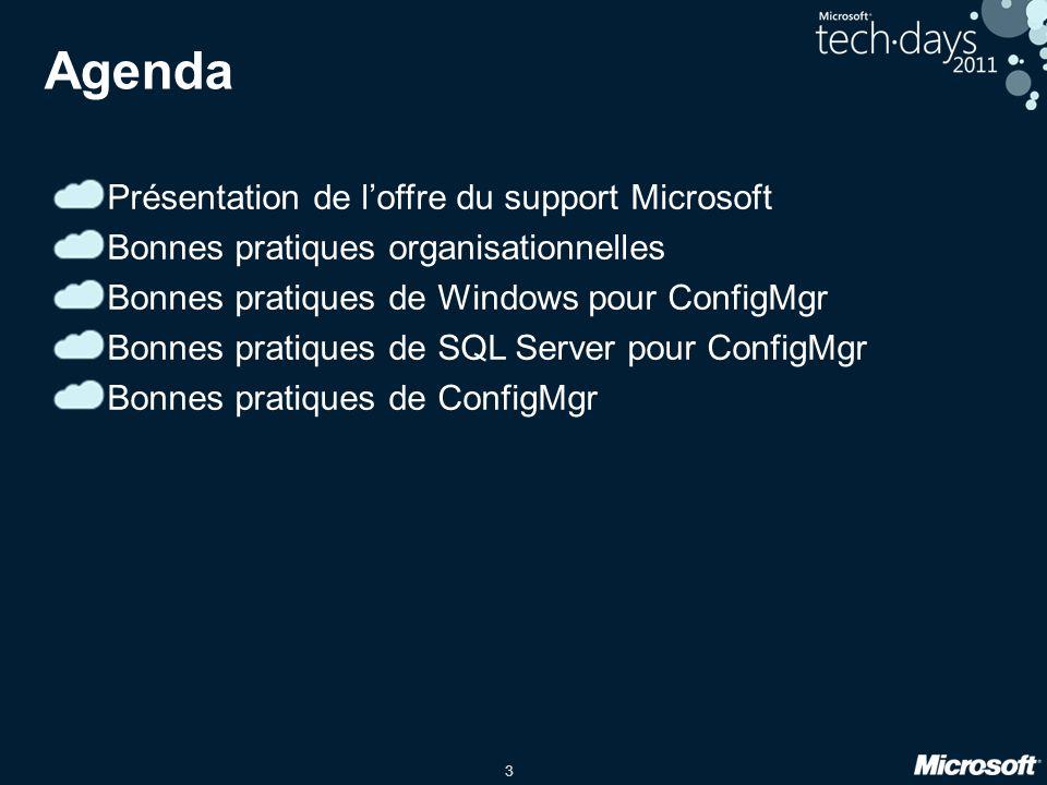 3 Agenda Présentation de loffre du support Microsoft Bonnes pratiques organisationnelles Bonnes pratiques de Windows pour ConfigMgr Bonnes pratiques de SQL Server pour ConfigMgr Bonnes pratiques de ConfigMgr