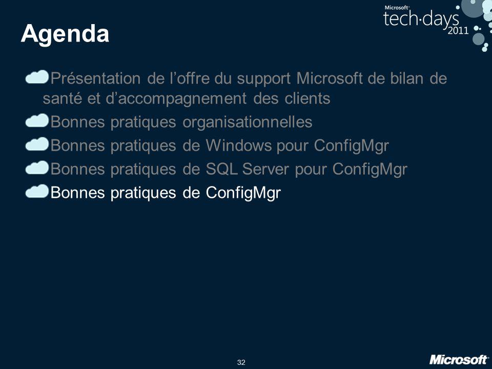 32 Présentation de loffre du support Microsoft de bilan de santé et daccompagnement des clients Bonnes pratiques organisationnelles Bonnes pratiques de Windows pour ConfigMgr Bonnes pratiques de SQL Server pour ConfigMgr Bonnes pratiques de ConfigMgr Agenda