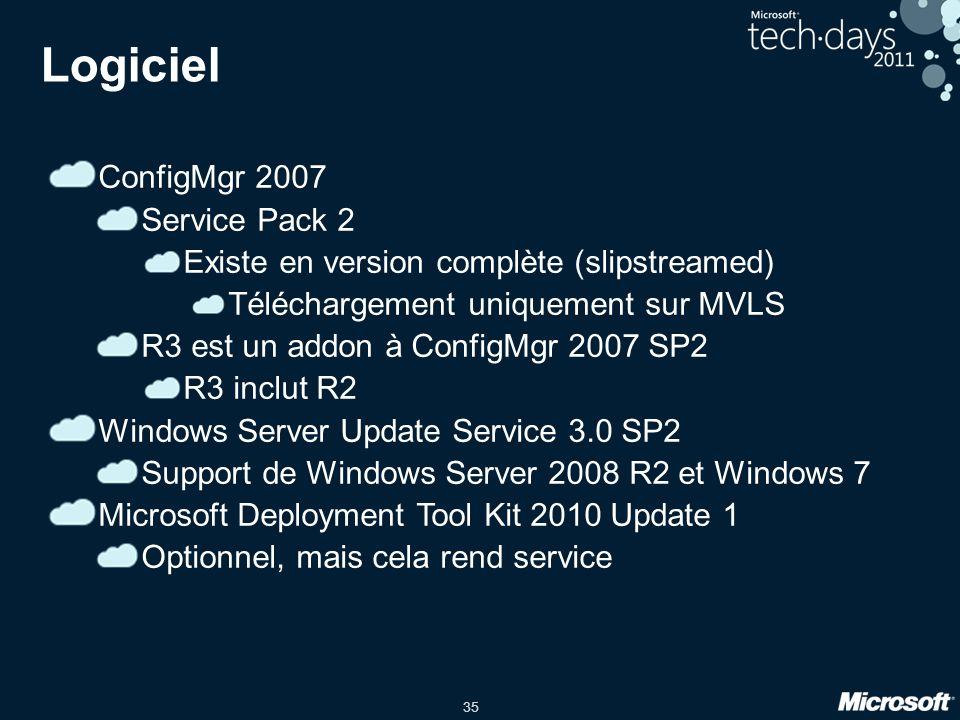 35 Logiciel ConfigMgr 2007 Service Pack 2 Existe en version complète (slipstreamed) Téléchargement uniquement sur MVLS R3 est un addon à ConfigMgr 200