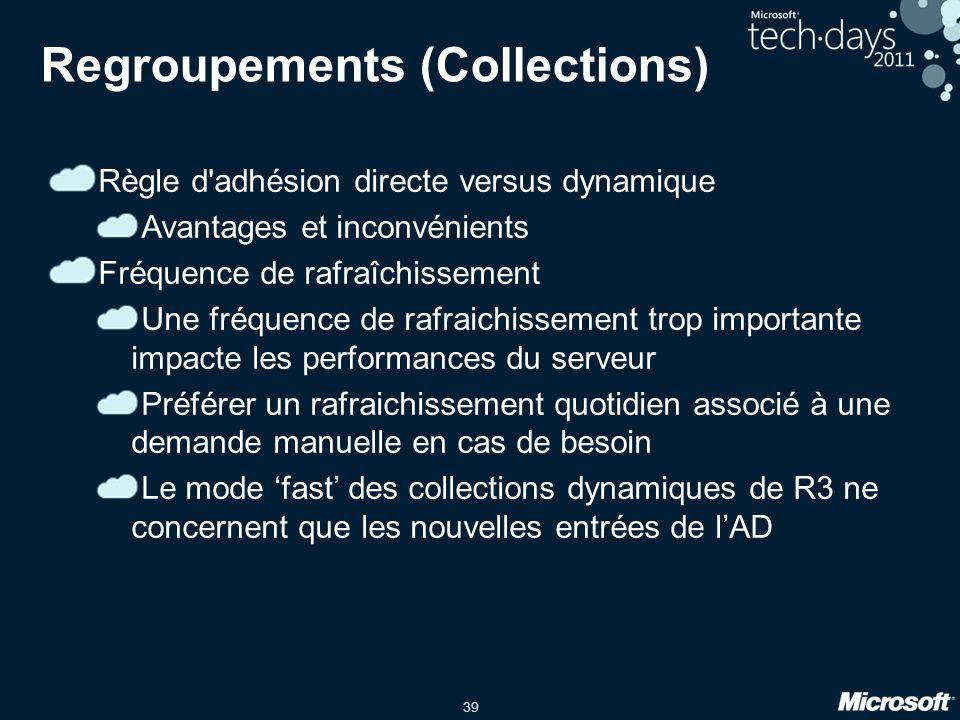 39 Regroupements (Collections) Règle d'adhésion directe versus dynamique Avantages et inconvénients Fréquence de rafraîchissement Une fréquence de raf