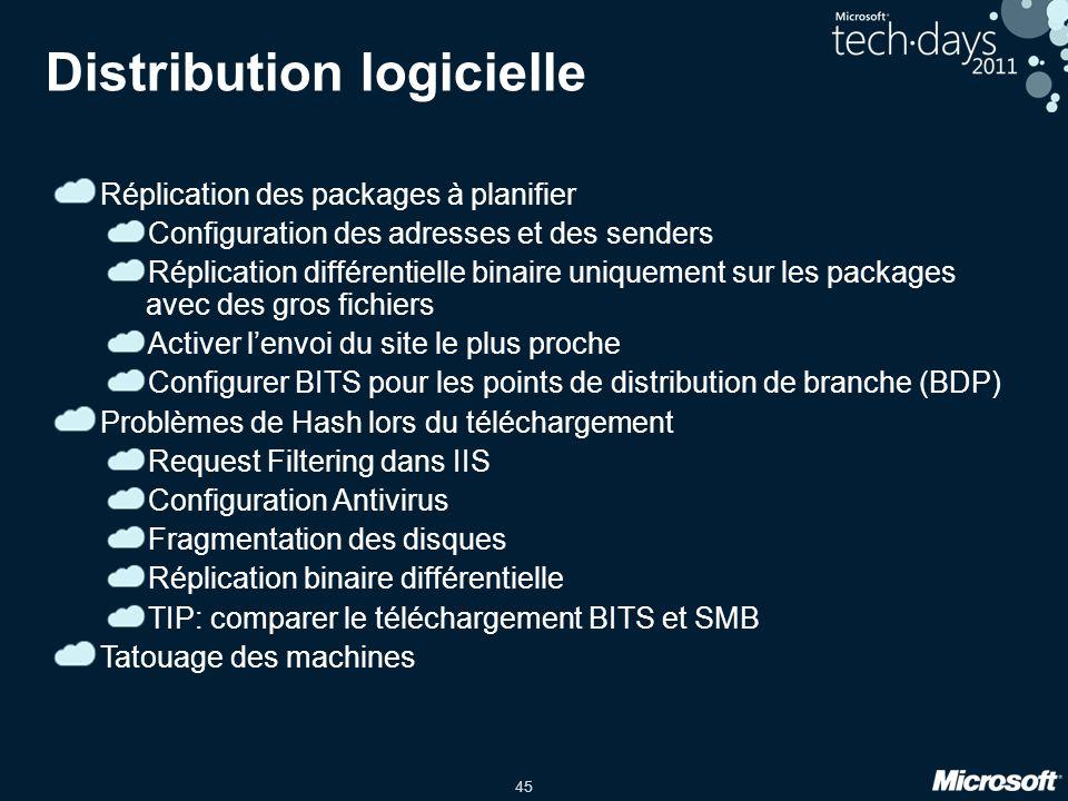 45 Distribution logicielle Réplication des packages à planifier Configuration des adresses et des senders Réplication différentielle binaire uniquement sur les packages avec des gros fichiers Activer lenvoi du site le plus proche Configurer BITS pour les points de distribution de branche (BDP) Problèmes de Hash lors du téléchargement Request Filtering dans IIS Configuration Antivirus Fragmentation des disques Réplication binaire différentielle TIP: comparer le téléchargement BITS et SMB Tatouage des machines