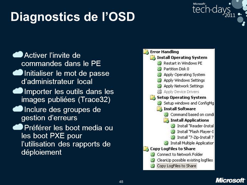 48 Diagnostics de lOSD Activer linvite de commandes dans le PE Initialiser le mot de passe dadministrateur local Importer les outils dans les images p