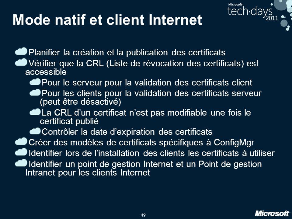 49 Mode natif et client Internet Planifier la création et la publication des certificats Vérifier que la CRL (Liste de révocation des certificats) est accessible Pour le serveur pour la validation des certificats client Pour les clients pour la validation des certificats serveur (peut être désactivé) La CRL dun certificat nest pas modifiable une fois le certificat publié Contrôler la date dexpiration des certificats Créer des modèles de certificats spécifiques à ConfigMgr Identifier lors de linstallation des clients les certificats à utiliser Identifier un point de gestion Internet et un Point de gestion Intranet pour les clients Internet