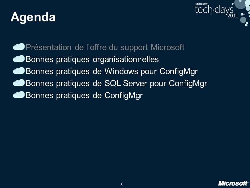 8 Agenda Présentation de loffre du support Microsoft Bonnes pratiques organisationnelles Bonnes pratiques de Windows pour ConfigMgr Bonnes pratiques d