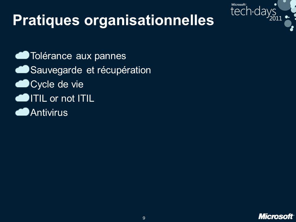 9 Pratiques organisationnelles Tolérance aux pannes Sauvegarde et récupération Cycle de vie ITIL or not ITIL Antivirus