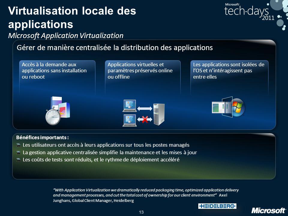 13 Microsoft Application Virtualization Virtualisation locale des applications Microsoft Application Virtualization Bénéfices importants : Les utilisa