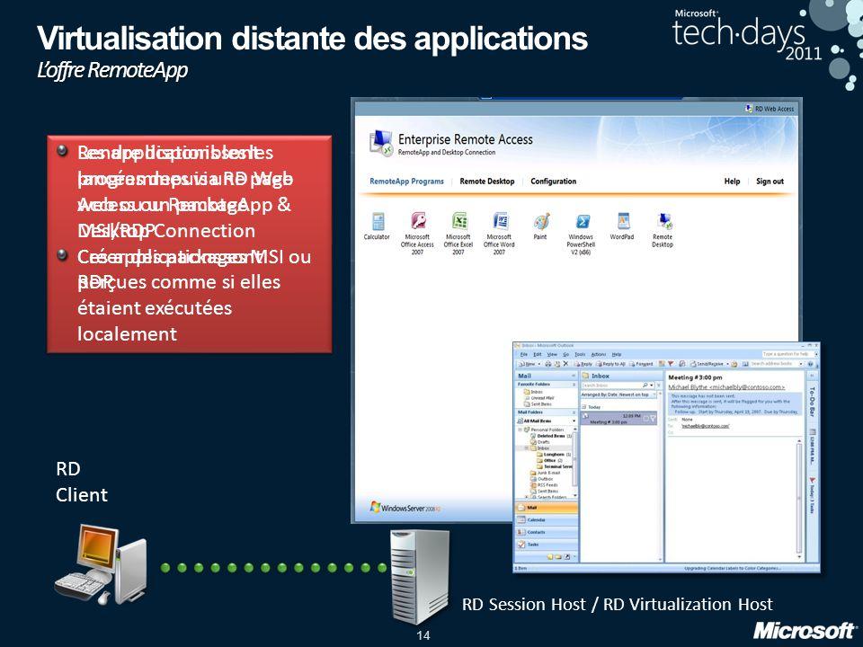 14 Rendre disponibles les programmes via RD Web Access ou RemoteApp & Desktop Connection Créer des packages MSI ou RDP Rendre disponibles les programm