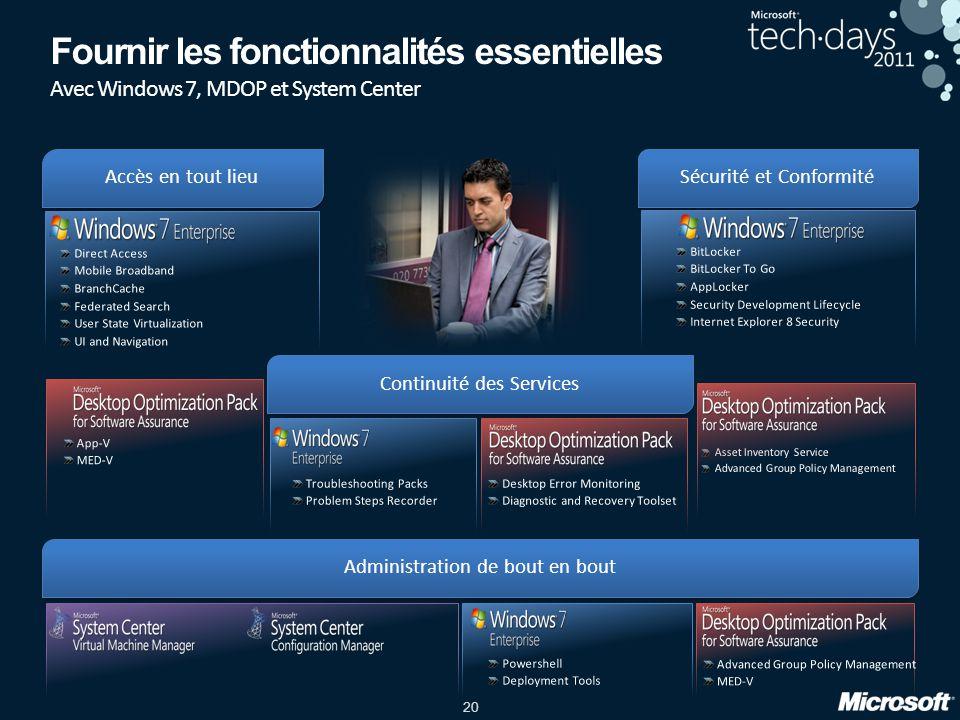 20 Fournir les fonctionnalités essentielles Avec Windows 7, MDOP et System Center Continuité des Services Administration de bout en bout Sécurité et C