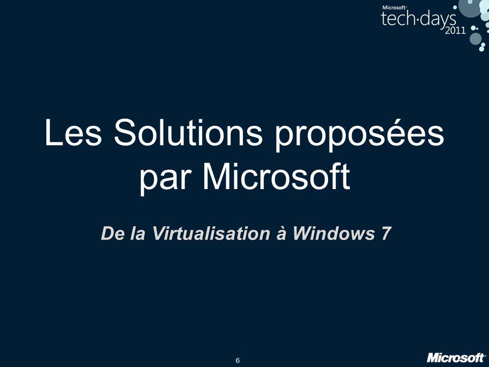 6 Les Solutions proposées par Microsoft De la Virtualisation à Windows 7