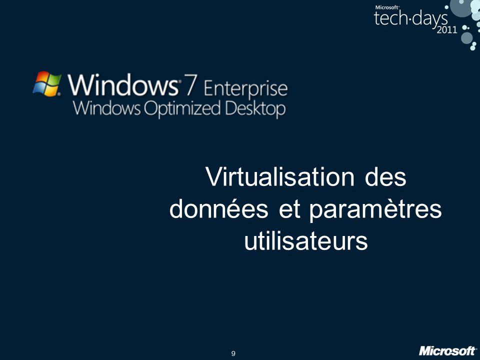 9 Virtualisation des données et paramètres utilisateurs