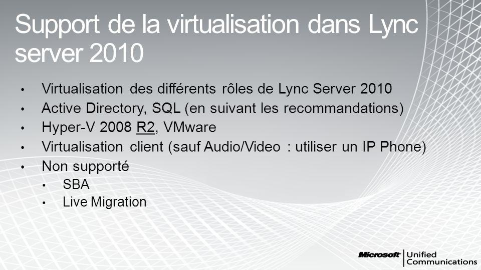 Support de la virtualisation dans Lync server 2010 Virtualisation des différents rôles de Lync Server 2010 Active Directory, SQL (en suivant les recom