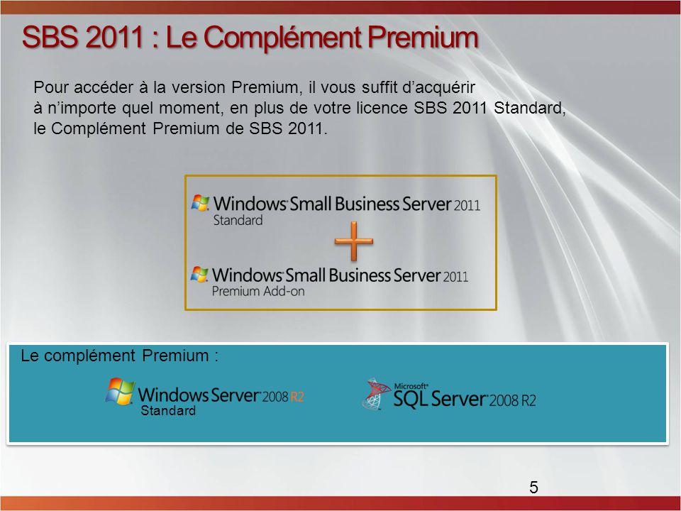 SBS 2011 : Le Complément Premium 5 Pour accéder à la version Premium, il vous suffit dacquérir à nimporte quel moment, en plus de votre licence SBS 2011 Standard, le Complément Premium de SBS 2011.