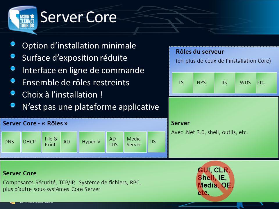 Server Core Option dinstallation minimale Surface dexposition réduite Interface en ligne de commande Ensemble de rôles restreints Choix à linstallatio