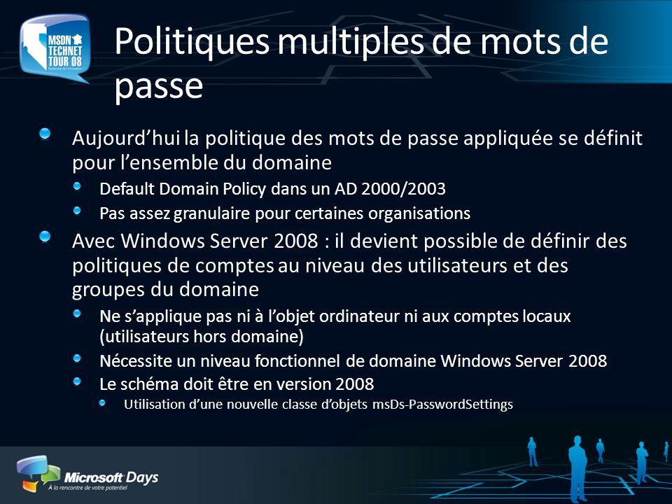 Politiques multiples de mots de passe Aujourdhui la politique des mots de passe appliquée se définit pour lensemble du domaine Default Domain Policy d