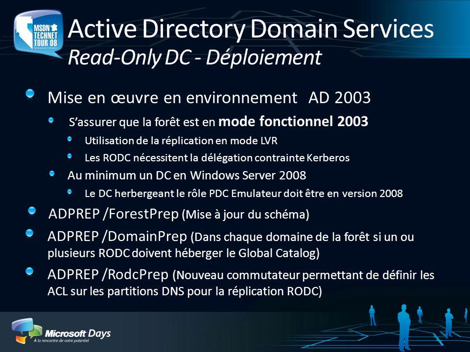 Active Directory Domain Services Read-Only DC - Déploiement Mise en œuvre en environnement AD 2003 Sassurer que la forêt est en mode fonctionnel 2003