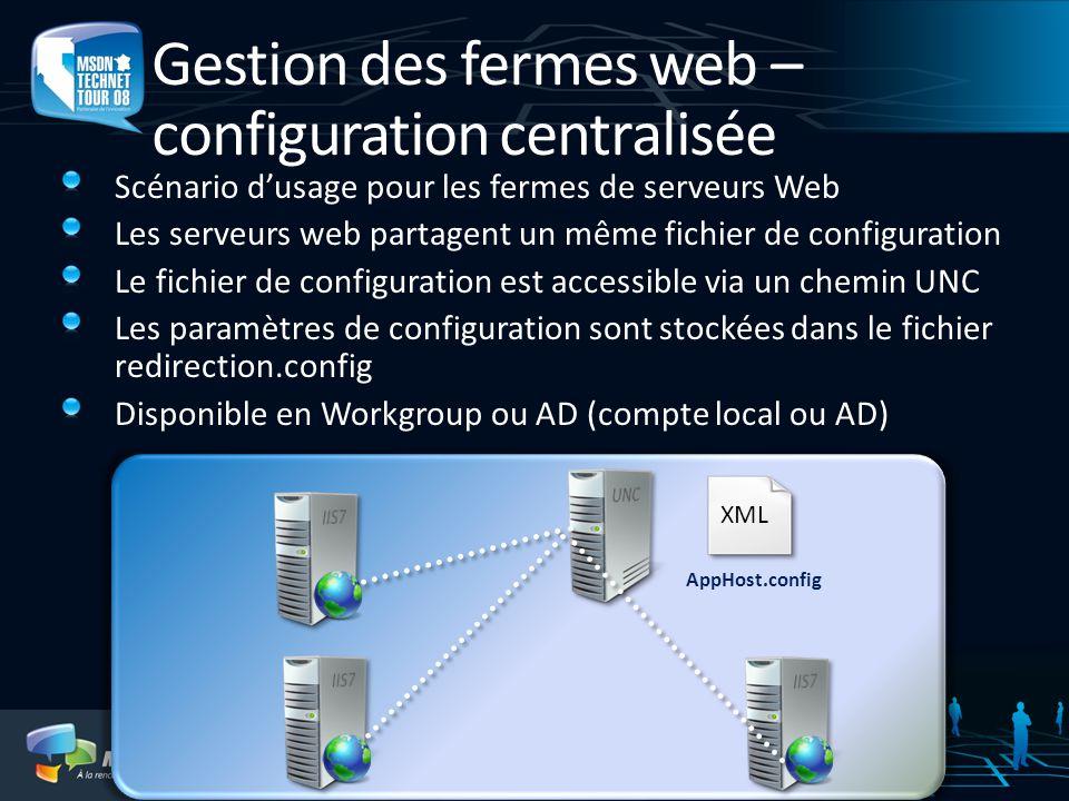 Gestion des fermes web – configuration centralisée Scénario dusage pour les fermes de serveurs Web Les serveurs web partagent un même fichier de confi