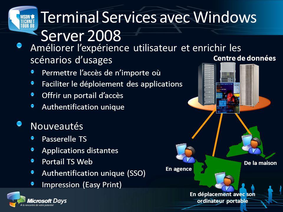 Terminal Services avec Windows Server 2008 Améliorer lexpérience utilisateur et enrichir les scénarios dusages Permettre laccès de nimporte où Facilit