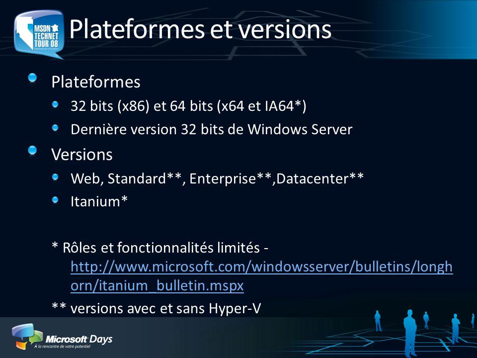 Windows Server 2008 Hyper-V Virtual Server 2005 R2 SP1 Hyper-V (Windows Server 2008) Support matérielX86 et X64X64 exclusivement avec processeurs AMD-V ou Intel VT (IVT) Machines virtuelles (VMs) 32-bit ?Ouioui VMs 64-bit ?Nonoui VMs multi-processeurs ?NonOui, jusquà 4 proc logiques Mémoire par VM ?3.6 Go par VMMaximum 64 Go par VM Ajout à chaud mémoire/processeurs?NonOui (V2) Ajout à chaud stockage/réseau?NonOui (V2) Peut-être administré par System Center Virtual Machine Manager.