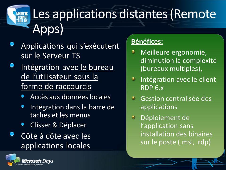 Les applications distantes (Remote Apps) Applications qui sexécutent sur le Serveur TS Intégration avec le bureau de lutilisateur sous la forme de rac