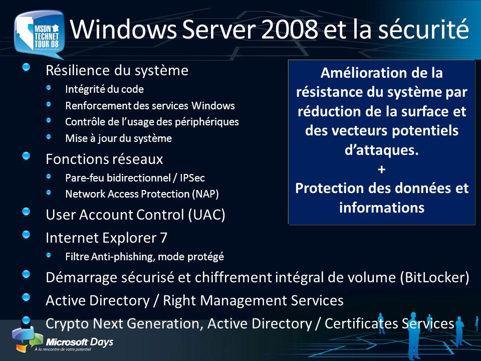 Windows Server 2008 et la sécurité Résilience du système Intégrité du code Renforcement des services Windows Contrôle de lusage des périphériques Mise