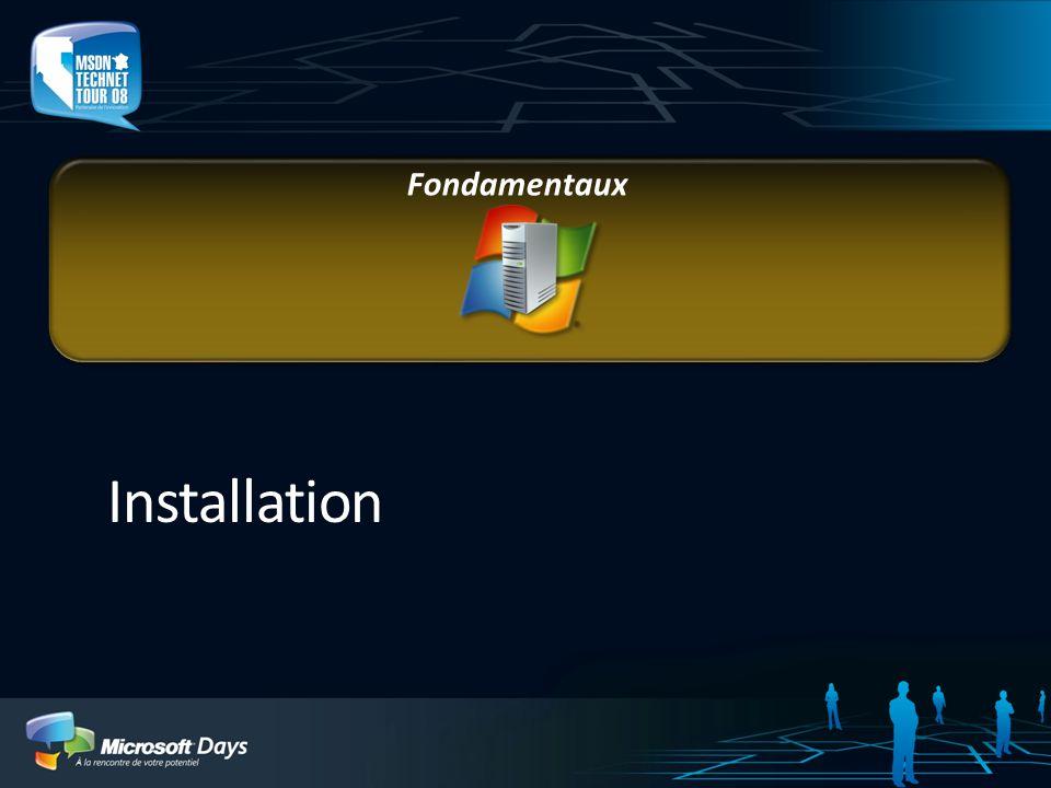 Services de déploiement Windows (Windows Deployment Services) Solution de déploiement pour Windows Server 2008 Nouvelles technologies : WIM, IBS, WinPE Ensemble doutils pour personnaliser linstallation Démarrage à distance dun environnement de pré- installation (WinPE) Notion de serveur PXE Support du multicast Administration graphique et en ligne de commande Wdsutil.exe