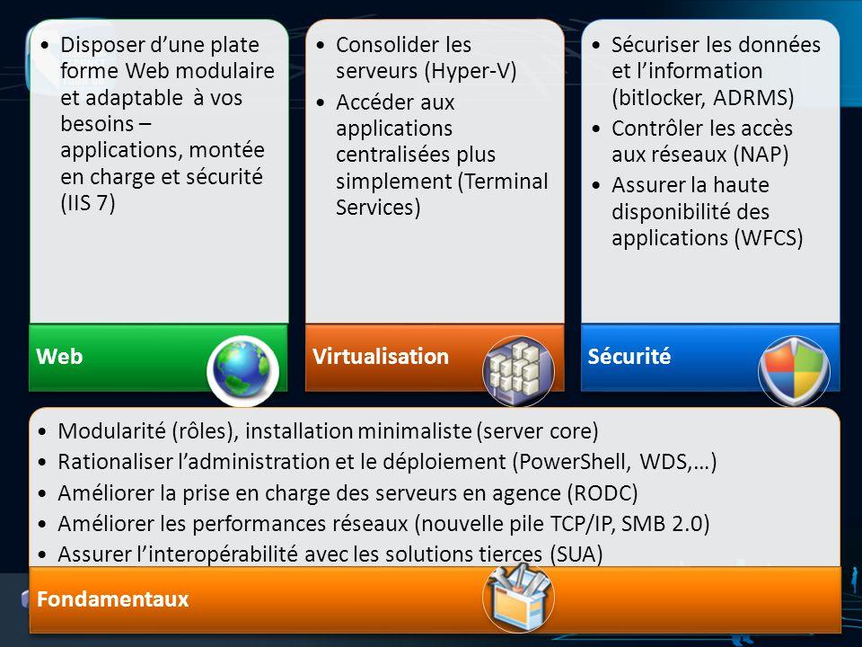 Disposer dune plate forme Web modulaire et adaptable à vos besoins – applications, montée en charge et sécurité (IIS 7) Web Consolider les serveurs (H
