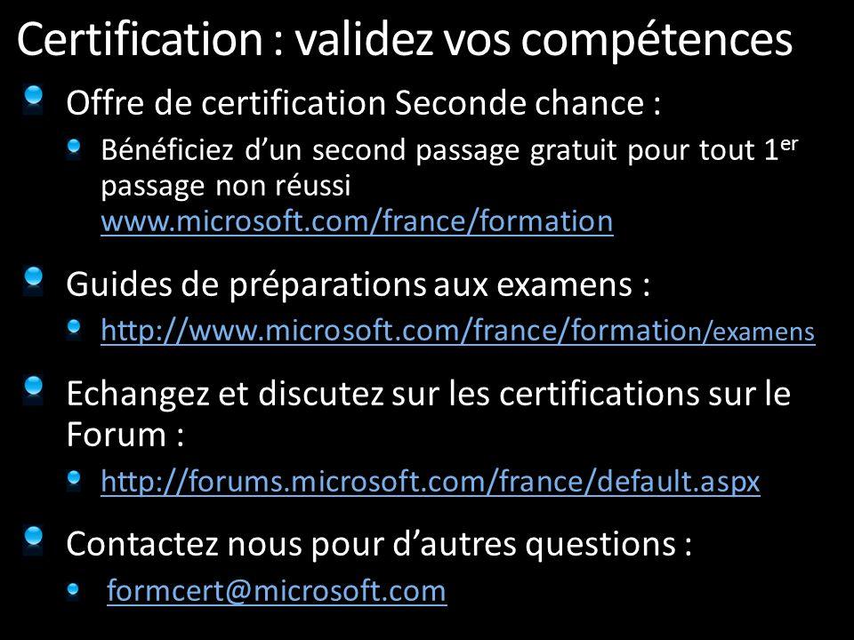 Certification : validez vos compétences Offre de certification Seconde chance : Bénéficiez dun second passage gratuit pour tout 1 er passage non réuss