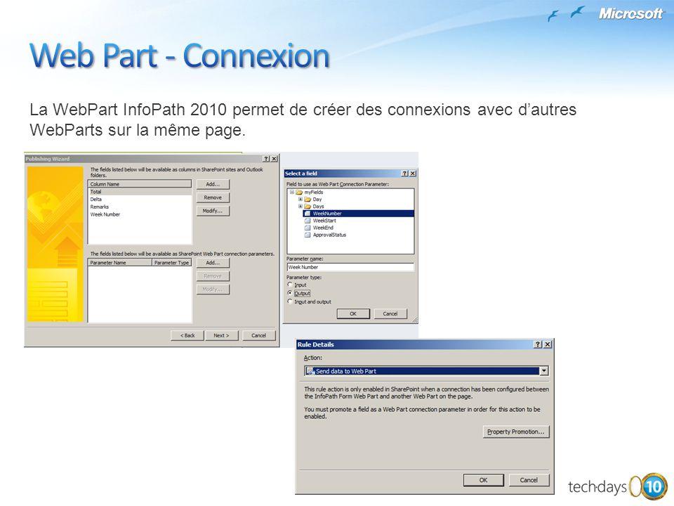 La WebPart InfoPath 2010 permet de créer des connexions avec dautres WebParts sur la même page.