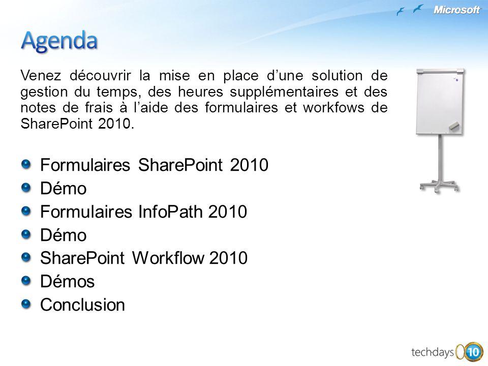 Venez découvrir la mise en place dune solution de gestion du temps, des heures supplémentaires et des notes de frais à laide des formulaires et workfows de SharePoint 2010.