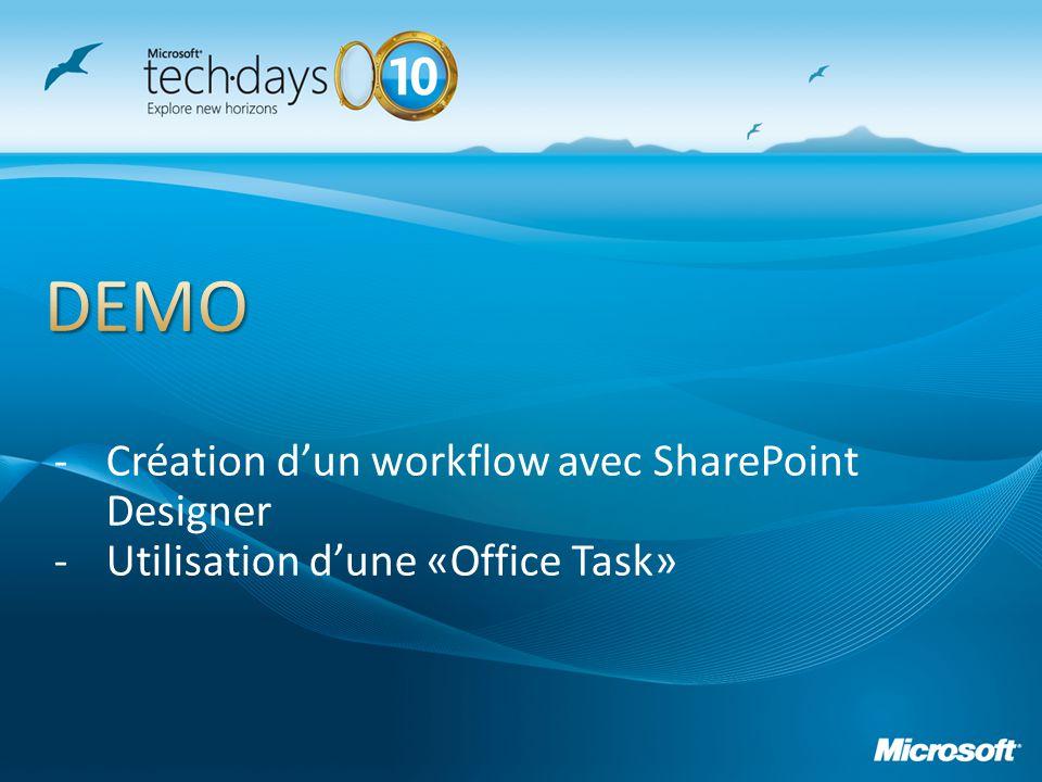 -Création dun workflow avec SharePoint Designer -Utilisation dune «Office Task»