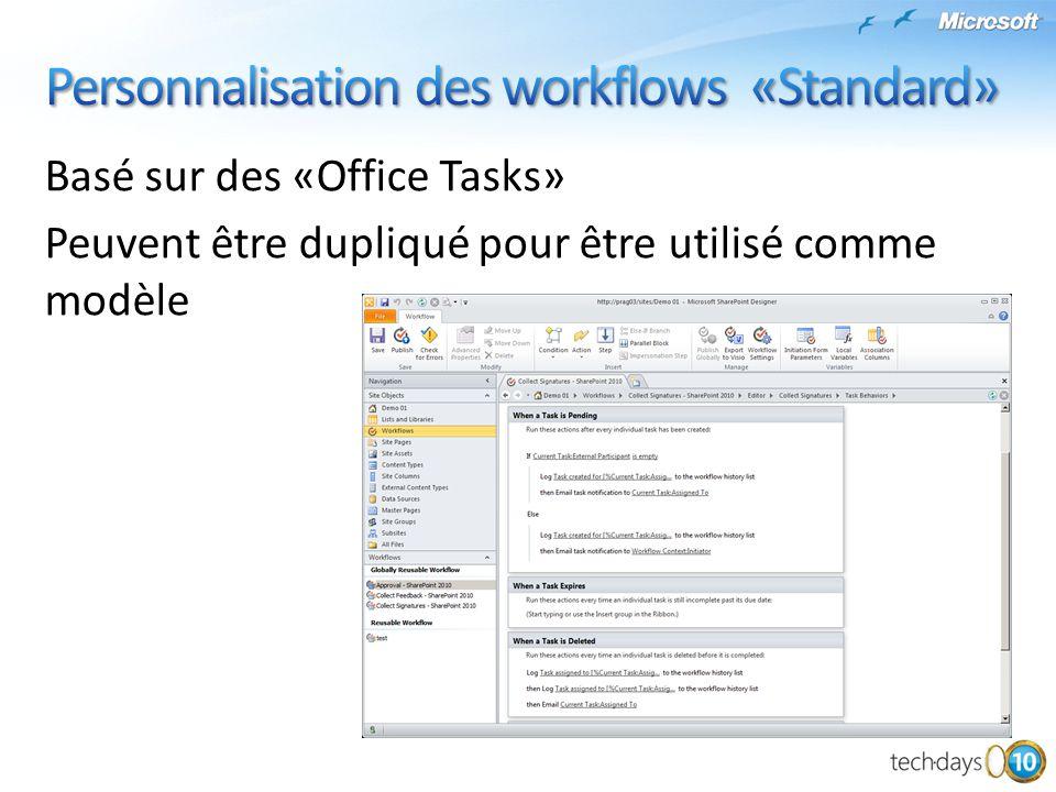 Basé sur des «Office Tasks» Peuvent être dupliqué pour être utilisé comme modèle