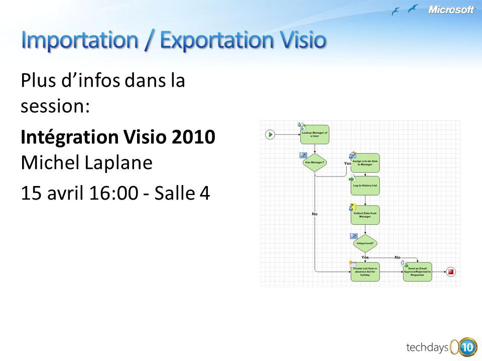 Plus dinfos dans la session: Intégration Visio 2010 Michel Laplane 15 avril 16:00 - Salle 4