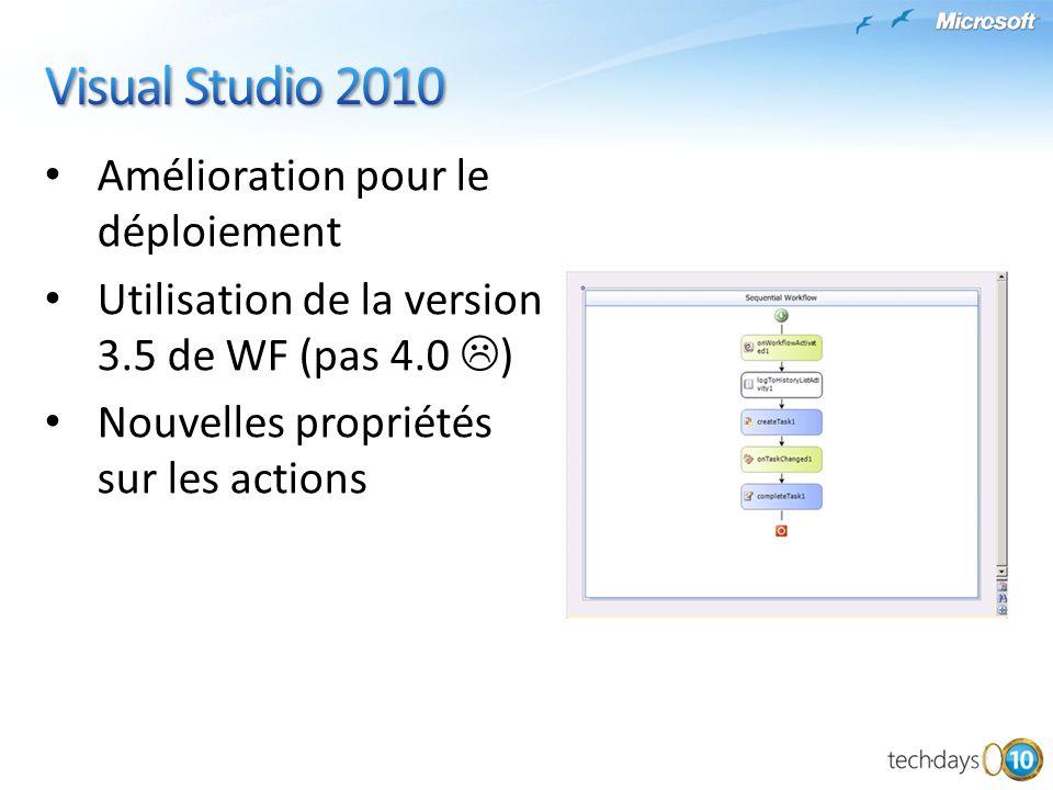 Amélioration pour le déploiement Utilisation de la version 3.5 de WF (pas 4.0 ) Nouvelles propriétés sur les actions