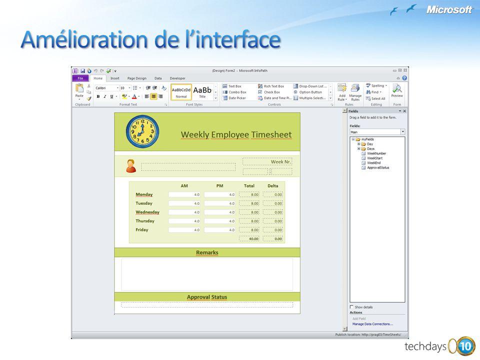Microsoft SharePoint Team Blog http://blogs.msdn.com/sharepoint/ InfoPath 2010 http://www.microsoft.com/office/2010/fr/infopath/default.aspx Modifications apportées dans InfoPath 2010 http://technet.microsoft.com/fr-fr/library/cc179229(office.14).aspx Improvements in SharePoint 2010 (Workflow) http://msdn.microsoft.com/en-us/magazine/ee335710.aspx Modification apportées dans SharePoint Designer 2010 http://technet.microsoft.com/fr-fr/library/cc179083(office.14).aspx Developing Business Processes with SharePoint 2010 Workflows http://msdn.microsoft.com/en-us/sharepoint/ee513154.aspx