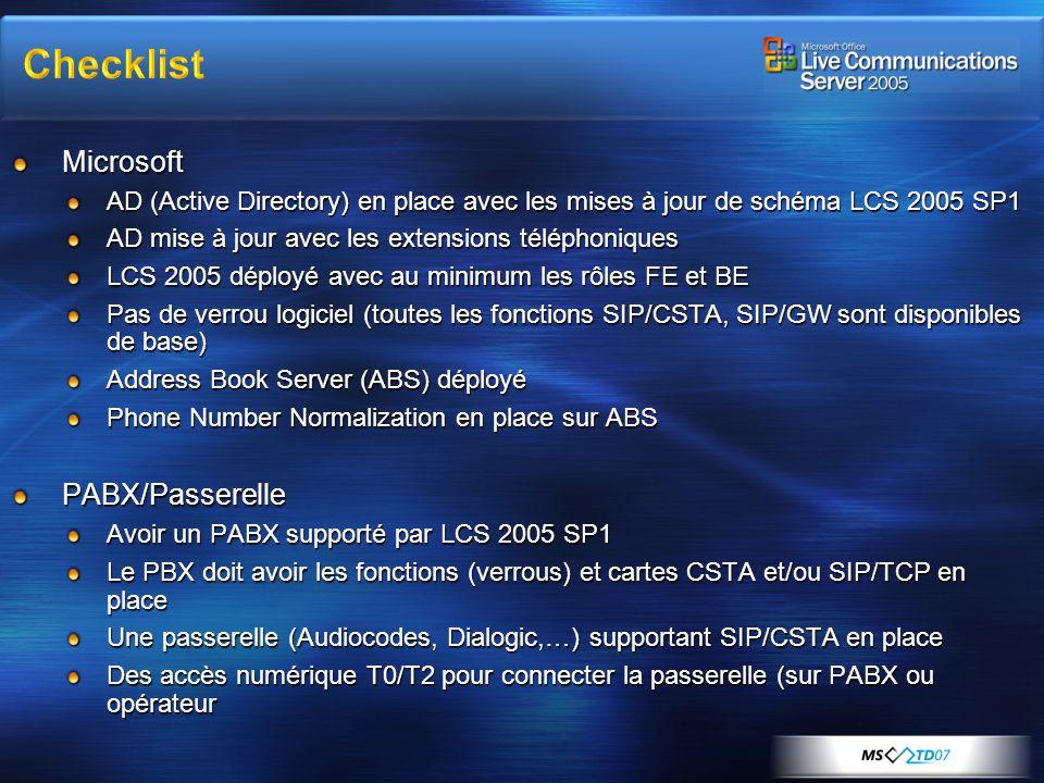 Microsoft AD (Active Directory) en place avec les mises à jour de schéma LCS 2005 SP1 AD mise à jour avec les extensions téléphoniques LCS 2005 déploy