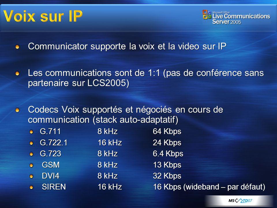 Communicator supporte la voix et la video sur IP Les communications sont de 1:1 (pas de conférence sans partenaire sur LCS2005) Codecs Voix supportés