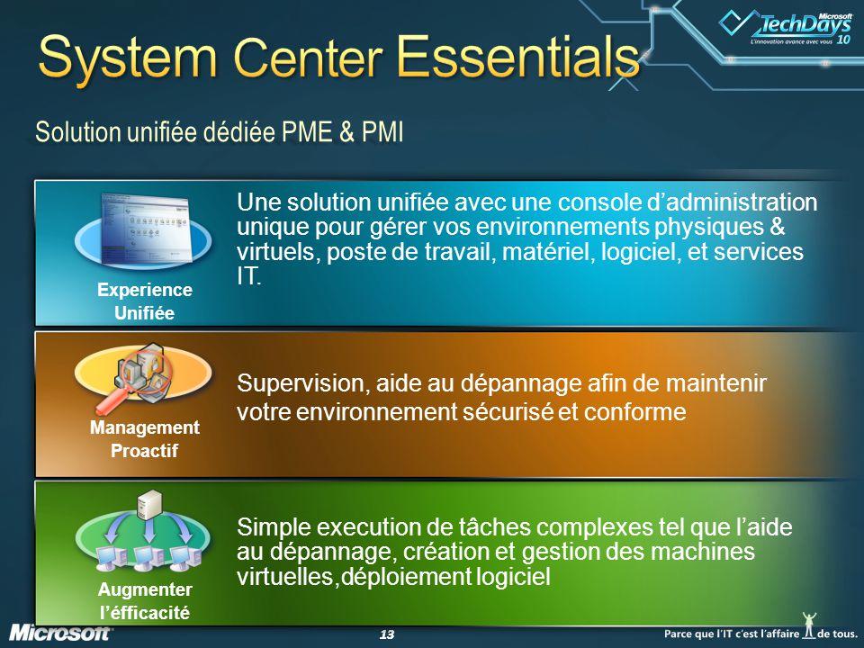 13 Solution unifiée dédiée PME & PMI Une solution unifiée avec une console dadministration unique pour gérer vos environnements physiques & virtuels, poste de travail, matériel, logiciel, et services IT.