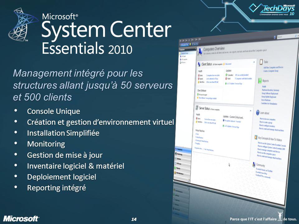14 Console Unique Console Unique Création et gestion denvironnement virtuel Création et gestion denvironnement virtuel Installation Simplifiée Install