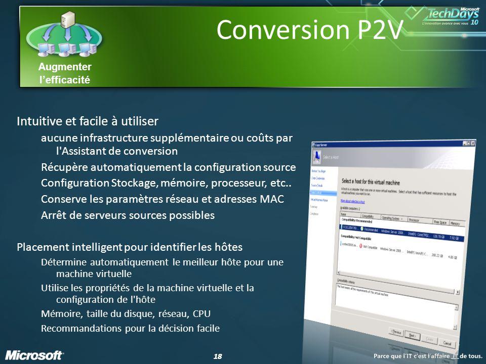18 Augmenter lefficacité Conversion P2V Intuitive et facile à utiliser aucune infrastructure supplémentaire ou coûts par l Assistant de conversion Récupère automatiquement la configuration source Configuration Stockage, mémoire, processeur, etc..
