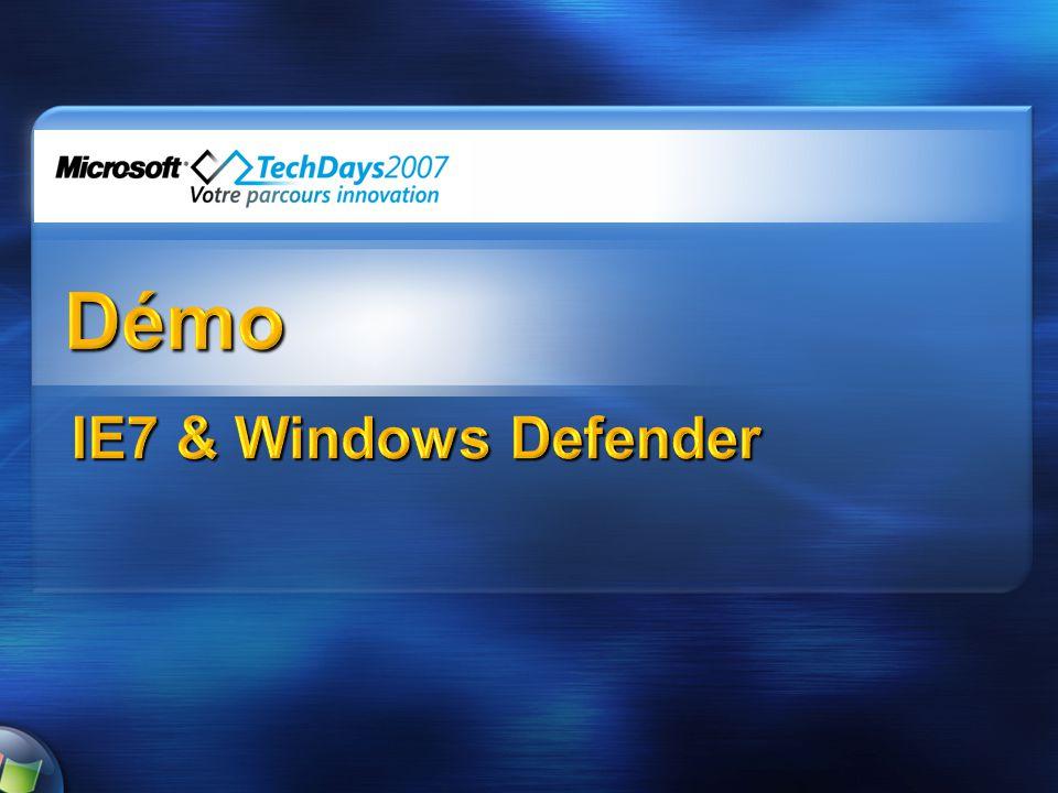Windows Defender Fonctions intégrées de détection, nettoyage, et blocage en temps réel des spywares (dont intégration avec Internet Explorer pour fournir une analyse antispyware avant téléchargement) 9 agents de surveillance Système de scan rapide intelligent Ciblé pour les consommateurs (pas de fonctions de gestion en entreprise) La gestion en entreprise est possible avec le produit payant séparé Microsoft Client Protection MSRT (Microsoft Malicious Software Removal Tool) intégré permet de supprimer virus, bots, et chevaux de Troie pendant une mise à jour et sur une base mensuelle