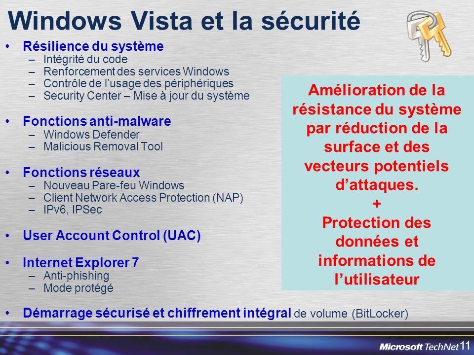 11 Windows Vista et la sécurité Résilience du système –Intégrité du code –Renforcement des services Windows –Contrôle de lusage des périphériques –Security Center – Mise à jour du système Fonctions anti-malware –Windows Defender –Malicious Removal Tool Fonctions réseaux –Nouveau Pare-feu Windows –Client Network Access Protection (NAP) –IPv6, IPSec User Account Control (UAC) Internet Explorer 7 –Anti-phishing –Mode protégé Démarrage sécurisé et chiffrement intégral de volume (BitLocker) Amélioration de la résistance du système par réduction de la surface et des vecteurs potentiels dattaques.