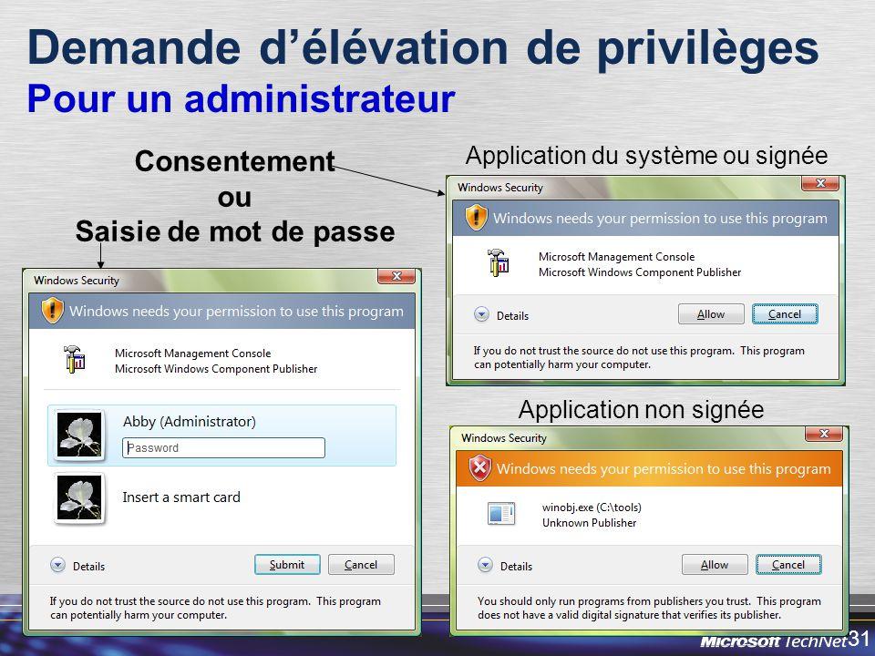 31 Demande délévation de privilèges Pour un administrateur Application du système ou signée Application non signée Consentement ou Saisie de mot de passe