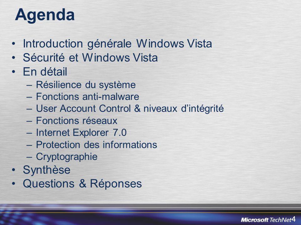 5 Agenda Introduction générale Windows Vista Sécurité et Windows Vista En détail –Résilience du système –Fonctions anti-malware –User Account Control & niveaux dintégrité –Fonctions réseaux –Internet Explorer 7.0 –Protection des informations –Cryptographie Synthèse & feuille de route de Windows Vista Questions & Réponses