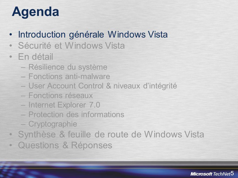 46 Sécurité Wifi de Windows Vista Niveau de standards de sécurité le plus élevé –WPA2 (802.11i), WPA, 802.1x –PEAP MSCHAPv2 (défaut dans Vista), PEAP-TLS, EAP- TLS Réseau ad-hoc sécurisé –WPA2-PSK Extensibilité EAPHost –Permet des méthodes EAP tierces Gestion par stratégies de groupe et ligne de commande Support de Network Access Protection (NAP)