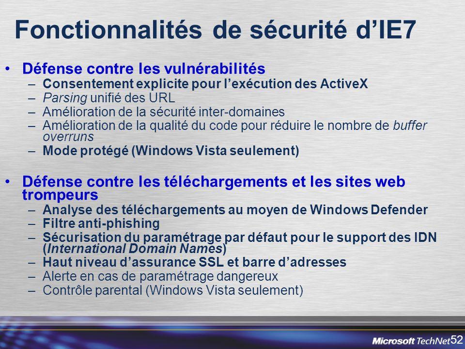52 Fonctionnalités de sécurité dIE7 Défense contre les vulnérabilités –Consentement explicite pour lexécution des ActiveX –Parsing unifié des URL –Amélioration de la sécurité inter-domaines –Amélioration de la qualité du code pour réduire le nombre de buffer overruns –Mode protégé (Windows Vista seulement) Défense contre les téléchargements et les sites web trompeurs –Analyse des téléchargements au moyen de Windows Defender –Filtre anti-phishing –Sécurisation du paramétrage par défaut pour le support des IDN (International Domain Names) –Haut niveau dassurance SSL et barre dadresses –Alerte en cas de paramétrage dangereux –Contrôle parental (Windows Vista seulement)