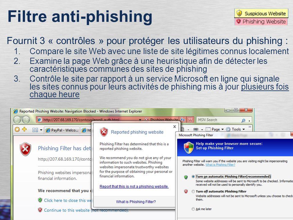 53 Filtre anti-phishing Fournit 3 « contrôles » pour protéger les utilisateurs du phishing : 1.Compare le site Web avec une liste de site légitimes connus localement 2.Examine la page Web grâce à une heuristique afin de détecter les caractéristiques communes des sites de phishing 3.Contrôle le site par rapport à un service Microsoft en ligne qui signale les sites connus pour leurs activités de phishing mis à jour plusieurs fois chaque heure